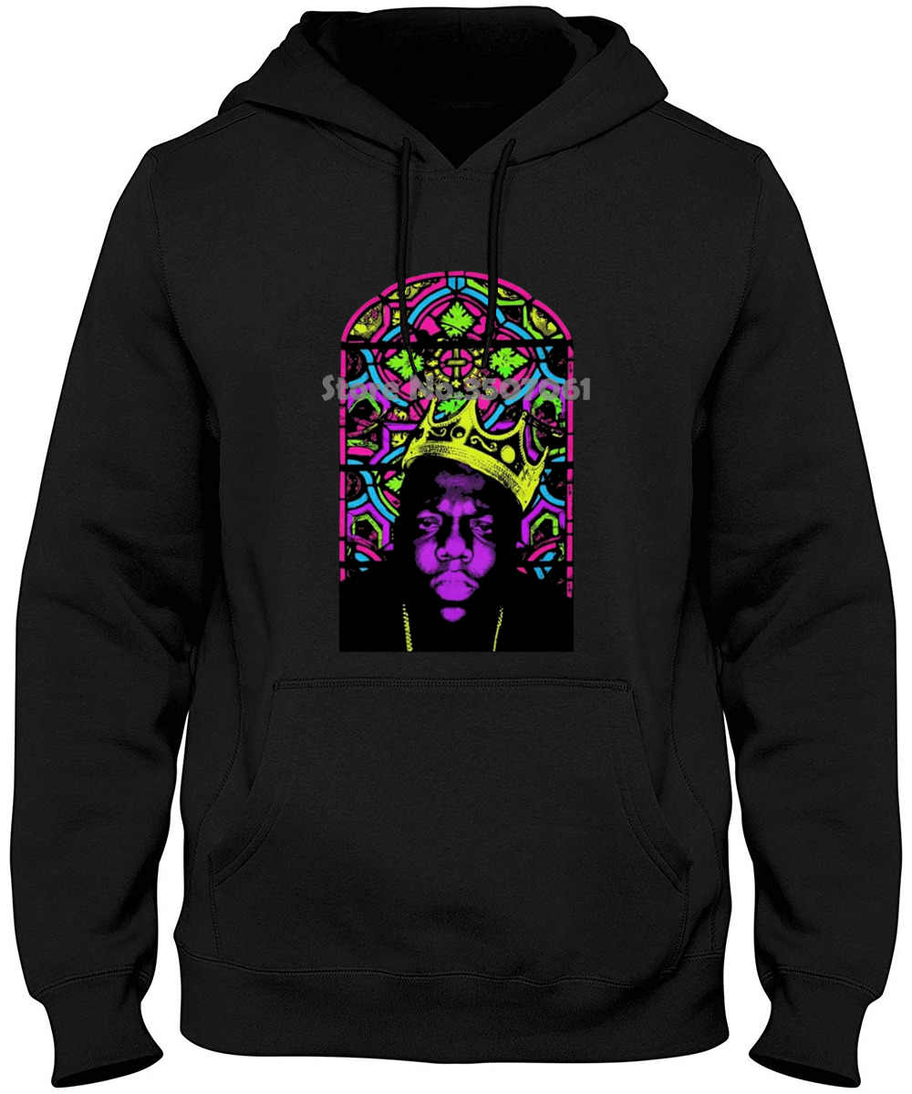 long Sleeve s Tops M~2xl Big Size Cotton Free Shipping Notorious Big Biggie Crown Stained Glass Mens Hoodies & Sweatshirts