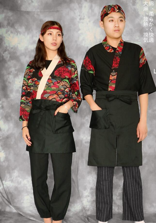 New Unisex Japanese Korea Style Chef Uniform Kimono Sushi Cook Clothes Medium Sleeve Restaurant Kitchen Cuisine Cook Uniforms A1