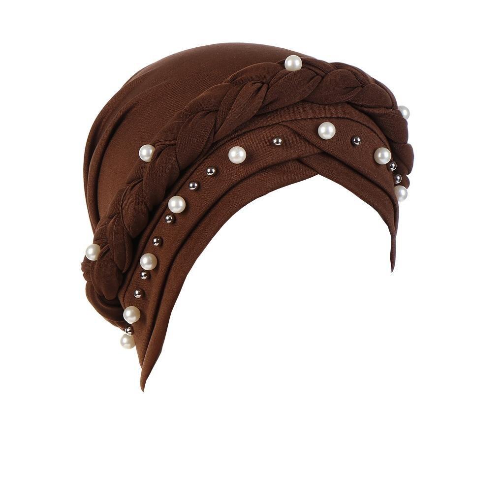 Image 4 - New Women Elastic Turban Hats Muslim Beads Cancer Chemo Cap Head  Wrap Cover Scarf Stretch Beanie Bonnet Indian Chemo Hair LossWomens  Skullies