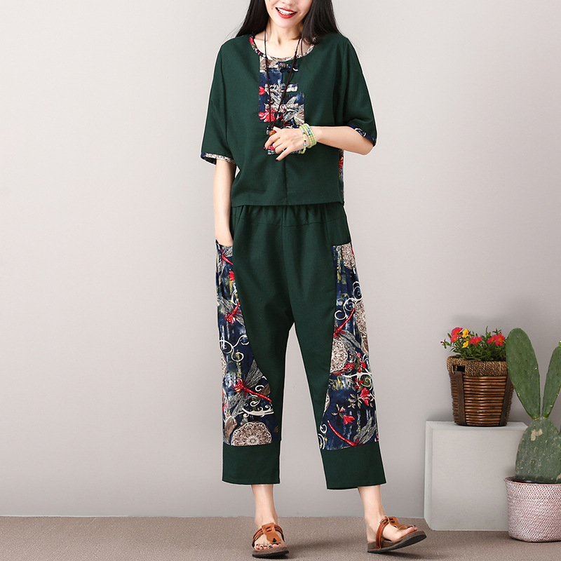 2018 Summer New Style Ethnic-Style Cotton Linen Set Loose And Plus-sized Short Sleeve Harem Loose Pants Two-Piece Women's