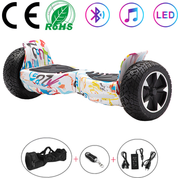 Hoverboard 8.5 Inch Electric Scooter White All-terrain Self-Balancing Scooter 2 Wheels Balance Board Off-road Bluetooth+Key+Bag