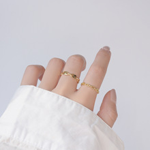 14K Настоящее Золото Простой Дизайн Овальный Цепочка Открытый Дизайн Cz Кольцо для Женщин Повседневные Ювелирные изделия