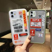 Código de barras dhl 50th express caso do telefone para o iphone 12 11 pro max 12 mini xr x xsmax 7 8 plus caso de silicone duro para apple 11 capa