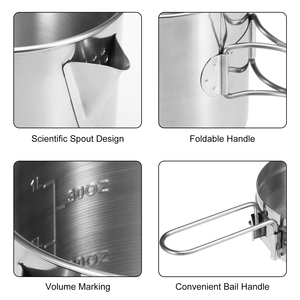 Image 4 - 1L Stainless Steel Cooking Kettle Portable Outdoor Camping Backpacking Pot with Foldable Handle