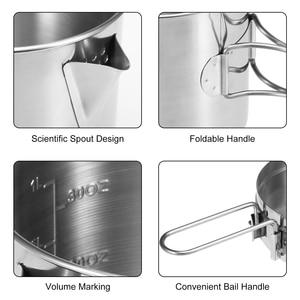 Image 4 - Pot de sac à dos de Camping extérieur portatif de bouilloire de cuisson dacier inoxydable de 1L avec la poignée pliable