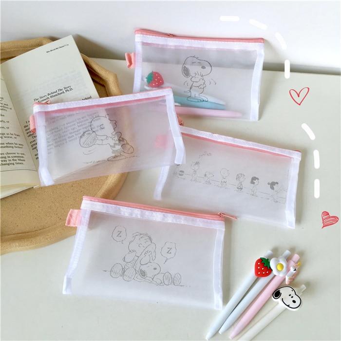 Cartoon Rogue Dog Gauze Pencil Bag Simple cute Printing Translucent Pencil Case Cosmetics Portable Storage Bag School Stationery