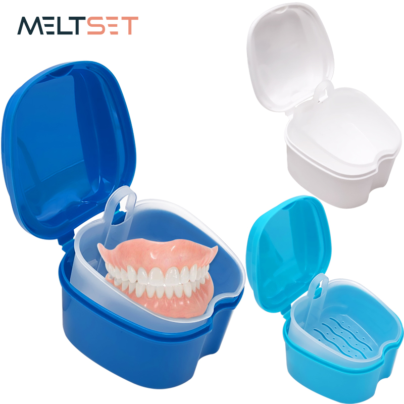 Denture Bath Box Organizer Dental False Teeth Storage Box with Hanging Net Container Cleaning Teeth Cases Artificial Tooth Boxes(China)
