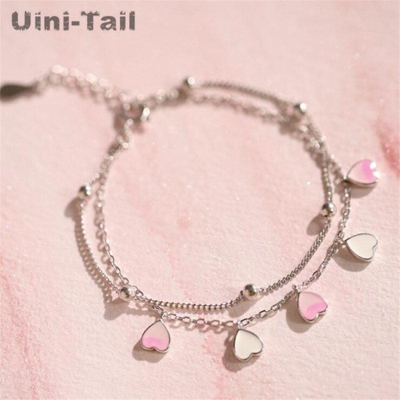 Uini-Tail hot new 925 sterling silver pink heart-shaped double-layer bracelet fashion trend sweet cherry girl pink jewelry ED483