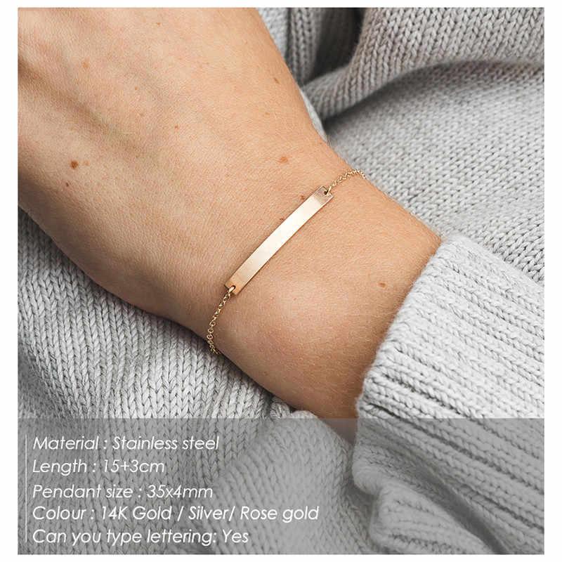 Bransoletki ze stali nierdzewnej pręt kwadratowy pręt bransoletka Charm bransoletka złoty kolor srebrny łańcuch regulowana długość bransoletka przyjaźni