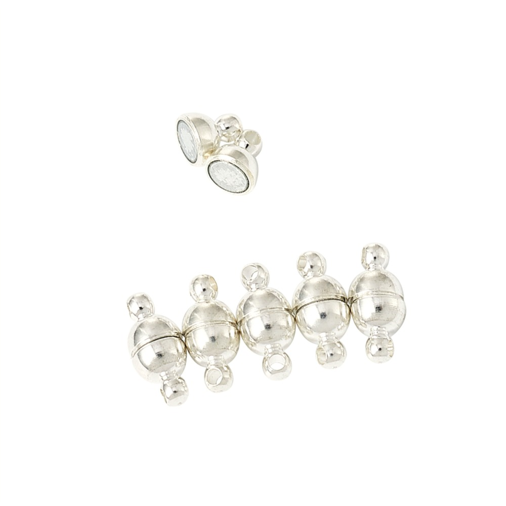 5 Brass Magnetic Clasps Nickle Free Silver or Platinum. BOX91