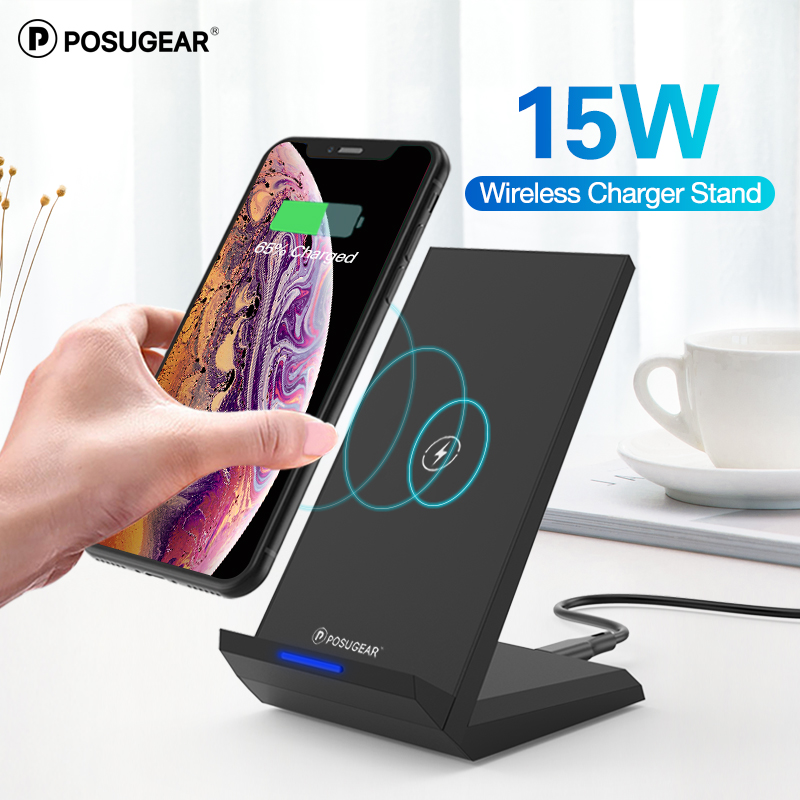 Posugear 15W Qi Wireless Charger Stand For iPhone 11 pro 8 X XS Samsung s10 s9 s8 Fast Wireless Charging Station Phone Charger title=