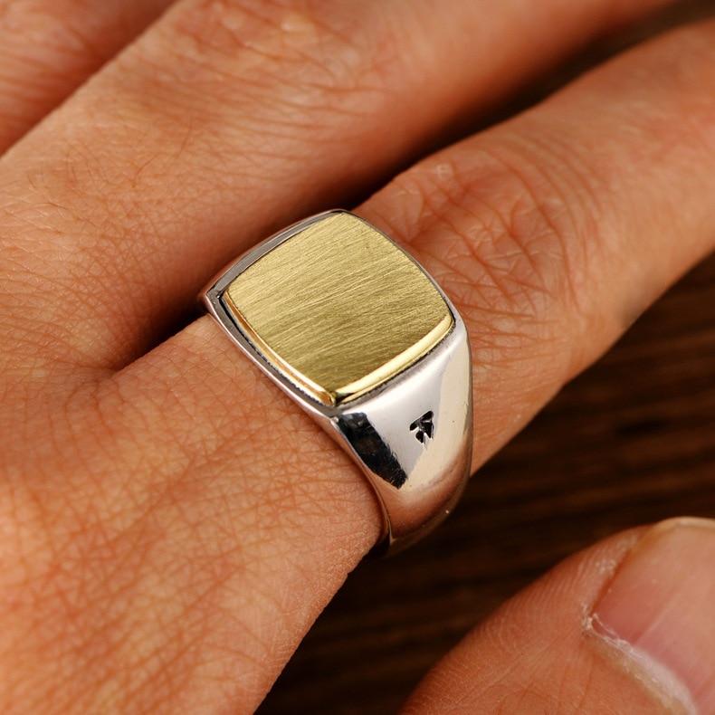 Véritable solide 925 argent Sterling hommes Signet OM anneaux Simple lisse conception Mantra bouddhiste bijoux - 4