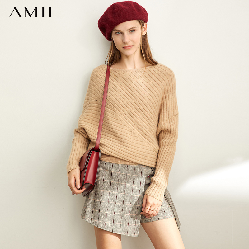 Amii Autumn Women Fashion Pullover Sweater Female Loose Solid Off Shoulder Sleeve Long Sweater Tops 11970511