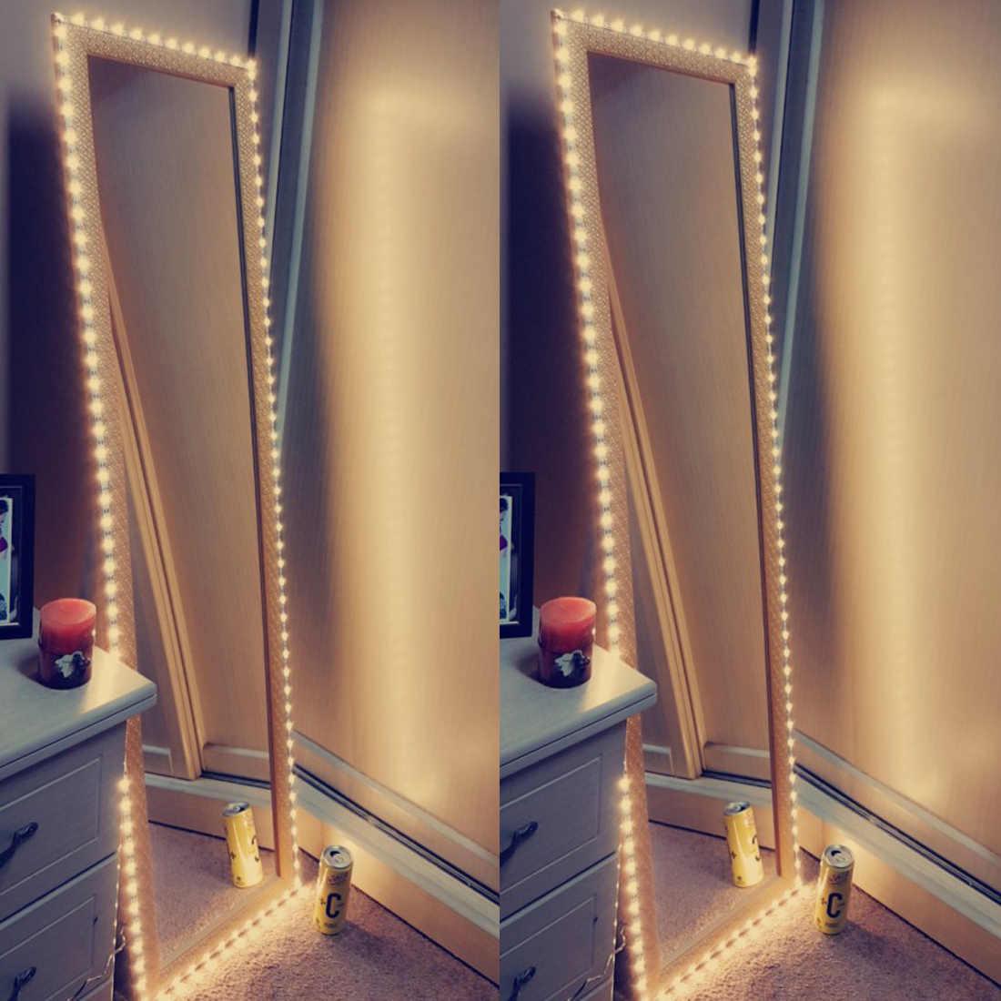 مرآة الزينة ضوء 5 فولت USB LED مرنة الشريط كابل يو اس بي بالطاقة مرآة تزين مصباح ديكور 0.5 متر-5 متر