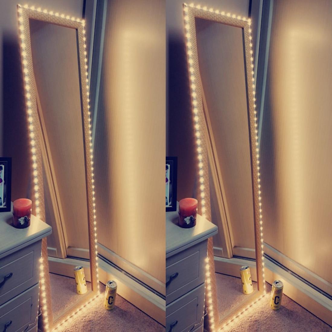 Vanity Makeup Mirror Light 5V USB LED Flexible Tape USB Cable Powered Dressing mirror Lamp Decor 0.5m -5m(China)
