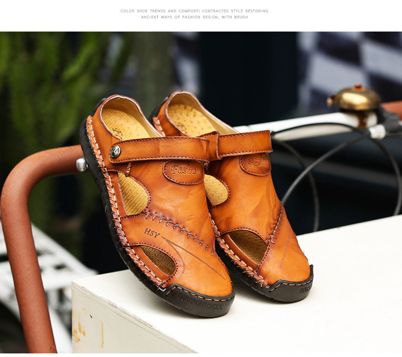 CAGILKZEL Summer Genuine Leather Outdoor Shoes Men Sandals Handmade Classic For Male Soft Walking Beach Sandalias Sandal Slides