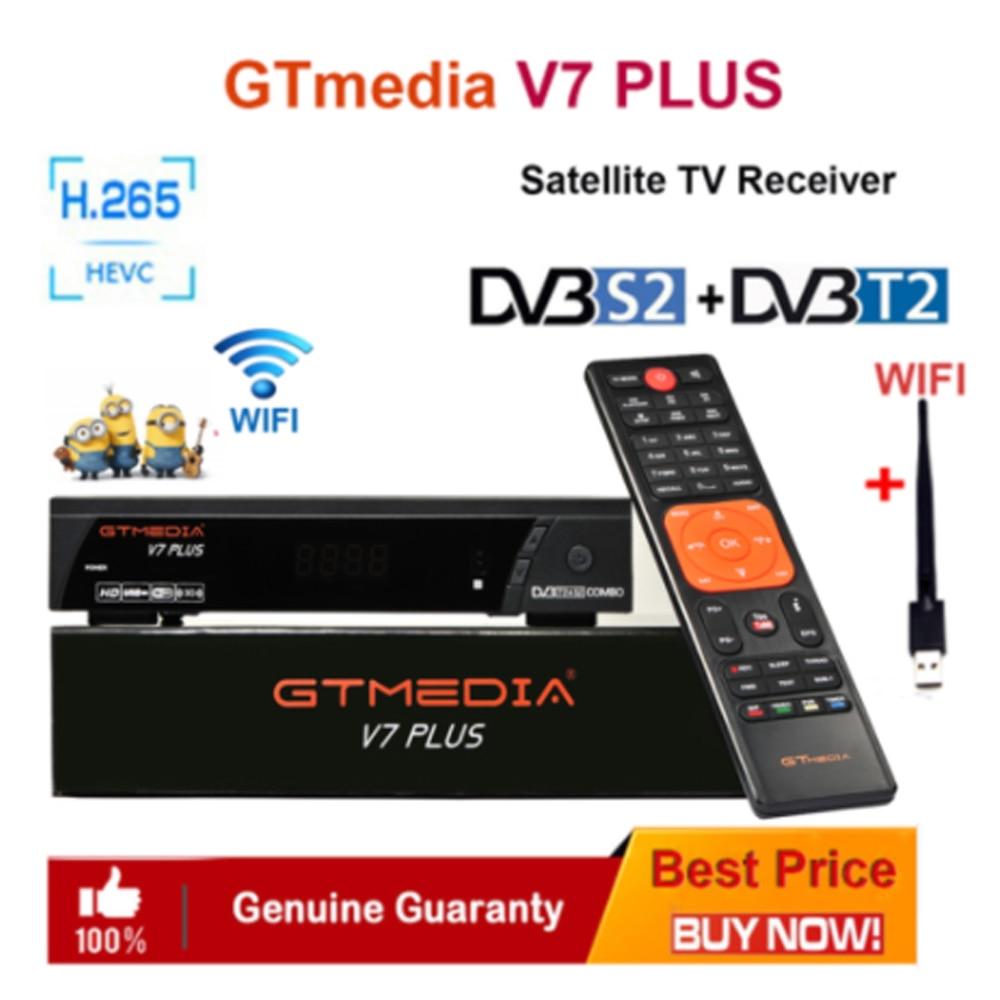 GTMedia V7 Plus Satellite Receiver DVB-S2 DVB-T2 H.265 Built-in WiFi With 1 Year Spain Europe Cccam Upgrade V7 Hd V7s Hd TV Box