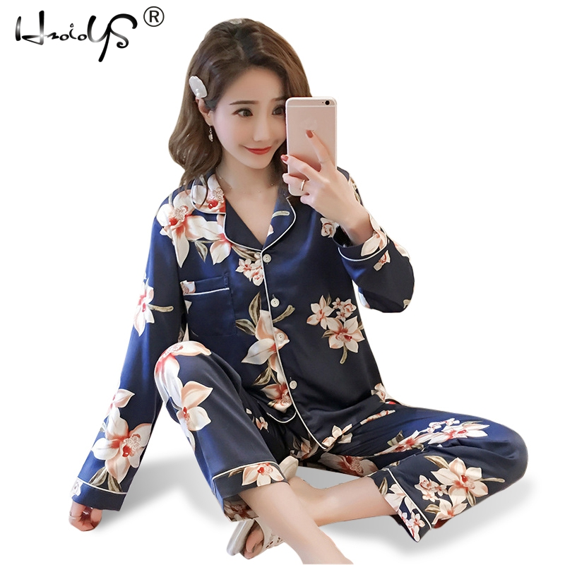 Plus Size Silk Satin Pajamas Winter Printing Pattern Women Pajama Set Rayon Sleepwear Long Sleeve Trousers Two Paper Suit M-4XL