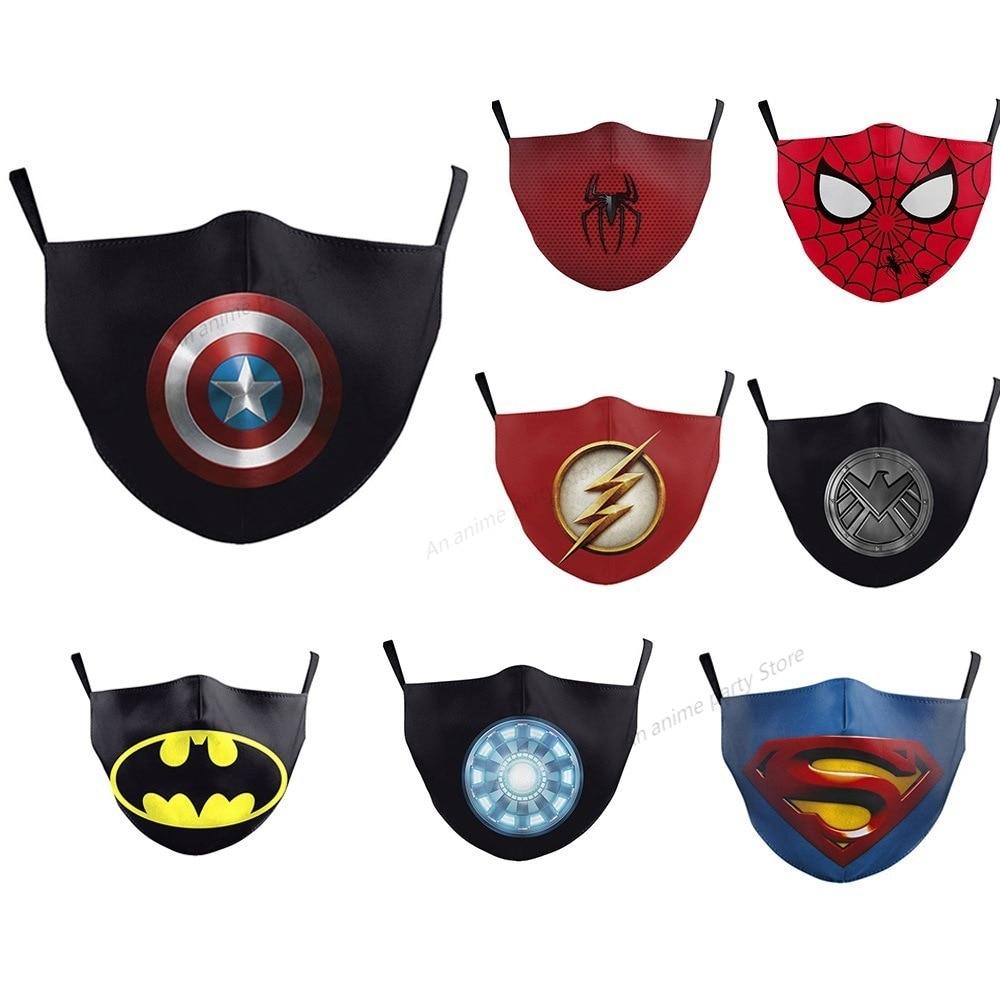Disney Marvel Mask Captain America Spider-Man Face Mouth Masks with Built-in Pm2.5 Filter Mask Kids Washable Dust Mask