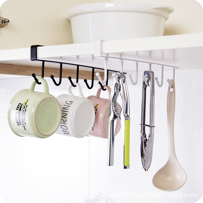 Stainless Steel Nail-free Hook Kitchen Cabinet Storage Rack Cup Holder Multi-function Wardrobe Row Hook Storage Rack Tie Rack