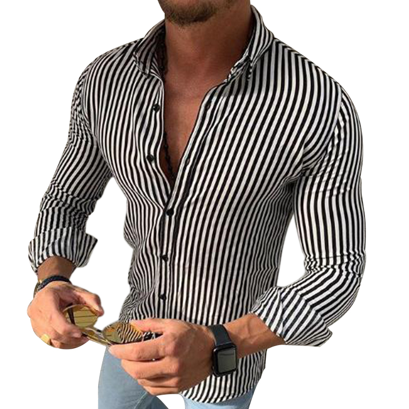New Men's Casual Fashion Shirts Slim Fit Social Striped Long Sleeve Dress Male Hawaiian Clothing Button Black White Tops Blouse