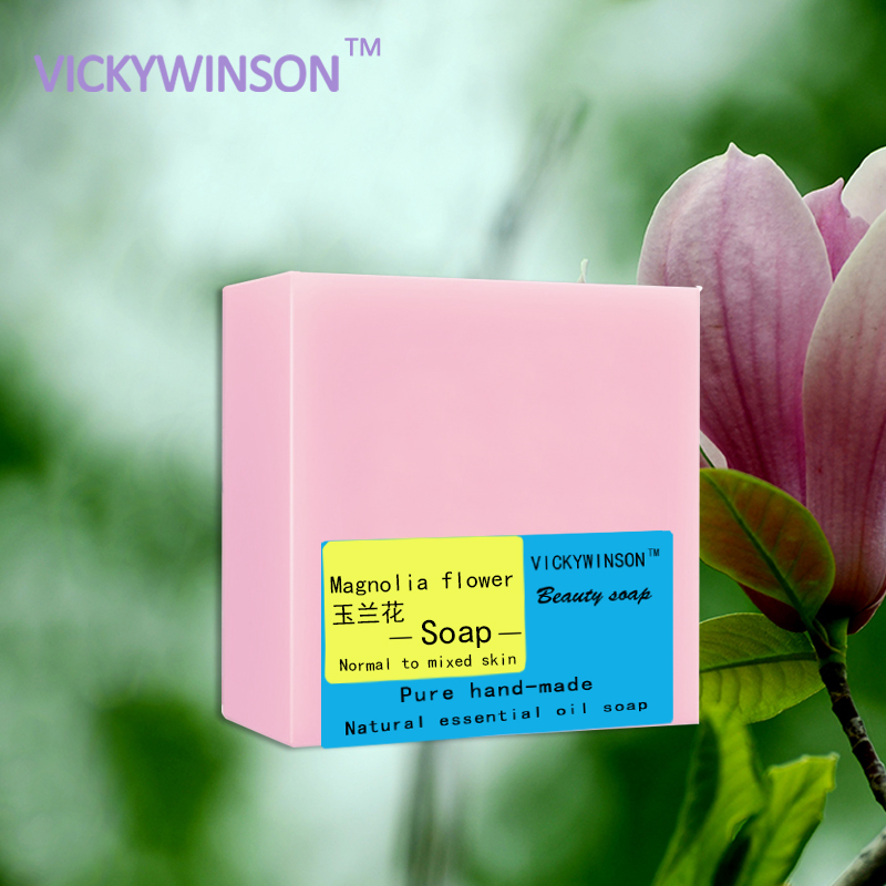 VICKYWINSON Magnolia Flower Handmade Soap 100g Anti-aging Activated Cells Relaxing Soaps Antibacterial Help Heal Wounds