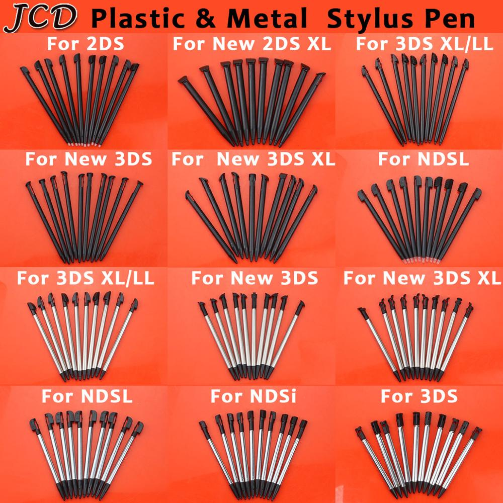 JCD 10PCS Metal Telescopic Stylus Plastic Stylus Touch Screen Pen for Nintendo 2DS 3DS New 2DS LL XL New 3DS XL LL For NDSL NDSi