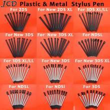 Jcd 10 pçs metal telescópico stylus caneta de tela de toque de plástico para nintendo 2ds 3ds novo 2ds ll xl novo 3ds xl ll para ndsl ndsi