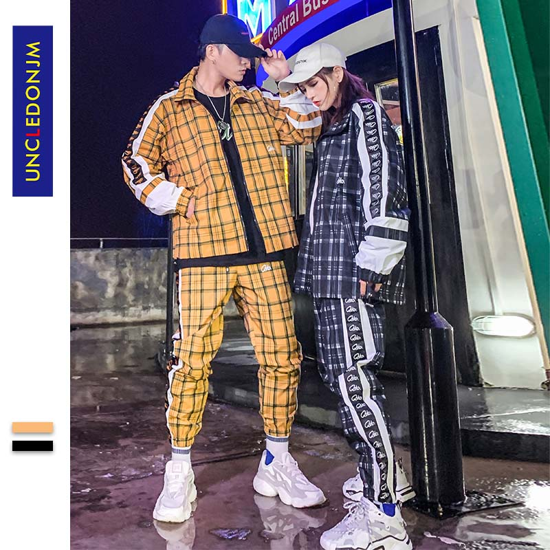 Men's Set Fashion Sports Men Plaid Sweatsuit Hip Hop Fitness Clothing Two Pieces Sweatshirt Sweatpant Male Tracksuit A340-1937