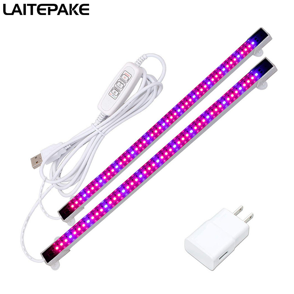 2PCS led grow light stripe with timer/usb plug 660nm red 455nm blue led lamp for seeding fruit flower plant and aquarium tent(China)