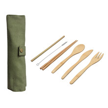 6-Piece Japanese Wooden Cutlery Set Bamboo Cutlery Straw Cutlery Set With Cloth Bag Kitchen Cooking Tools(China)