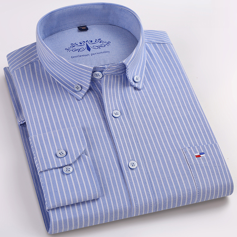 Quality 100% Cotton Oxford Fabric Striped Business Mens Casual Shirts Button Square Collar Long Sleeve Slim Fit