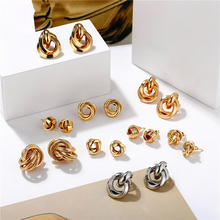 Minimalist Gold Silver Color Love Knot Earrings for Women Classic Twisted Stud Tie the Wedding Jewelry