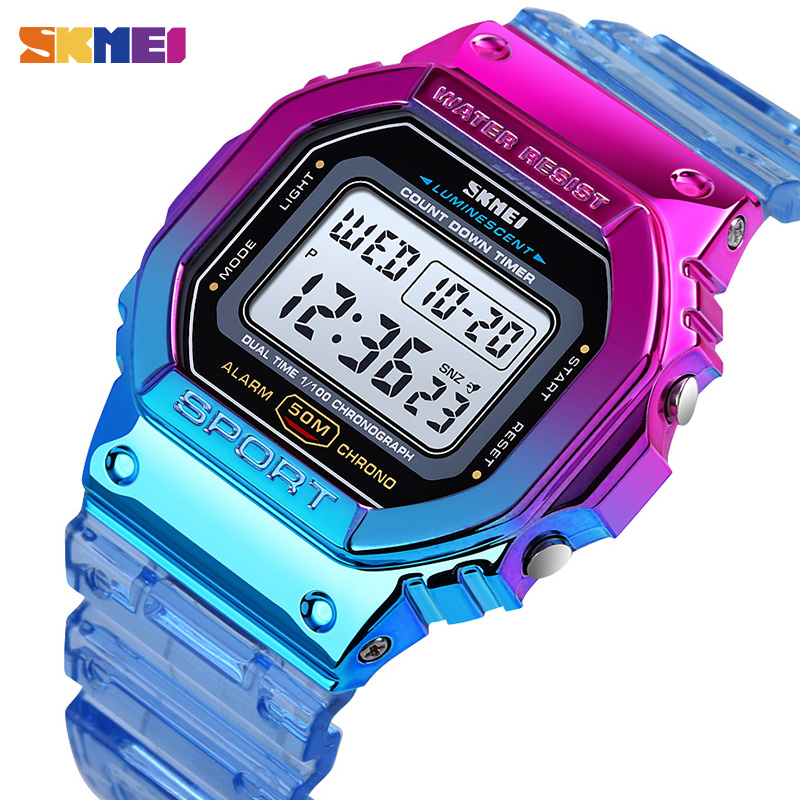 SKMEI Fashion Cool Girls Watches Electroplated Case Transparent Strap Lady Women Digital Wristwatch Shockproof Reloj Mujer 1622