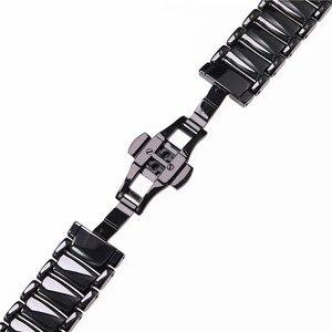 Image 5 - 22mm siyah yüksek dereceli parlak seramik kayış bilezik izle bantları için Armani İzle AR1507 AR1509 AR1499 seramik izle