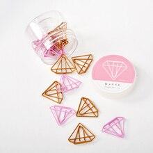 20Pcs Cute Kawaii Gold Pink Diamond Shape Office School Index Paper Clips Bookmark Set Metal Memo Organizer Stationery