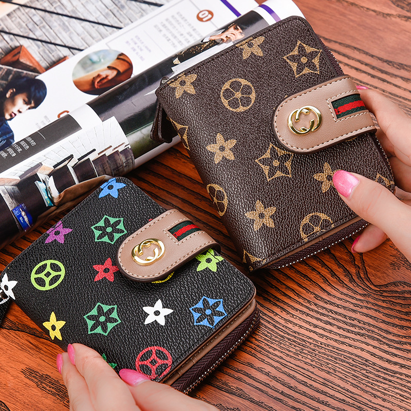 Women's Short Wallet Card Bit More Europe And America Organ Zipper Card Holder Buttons Wallet Women Verticle Wallet