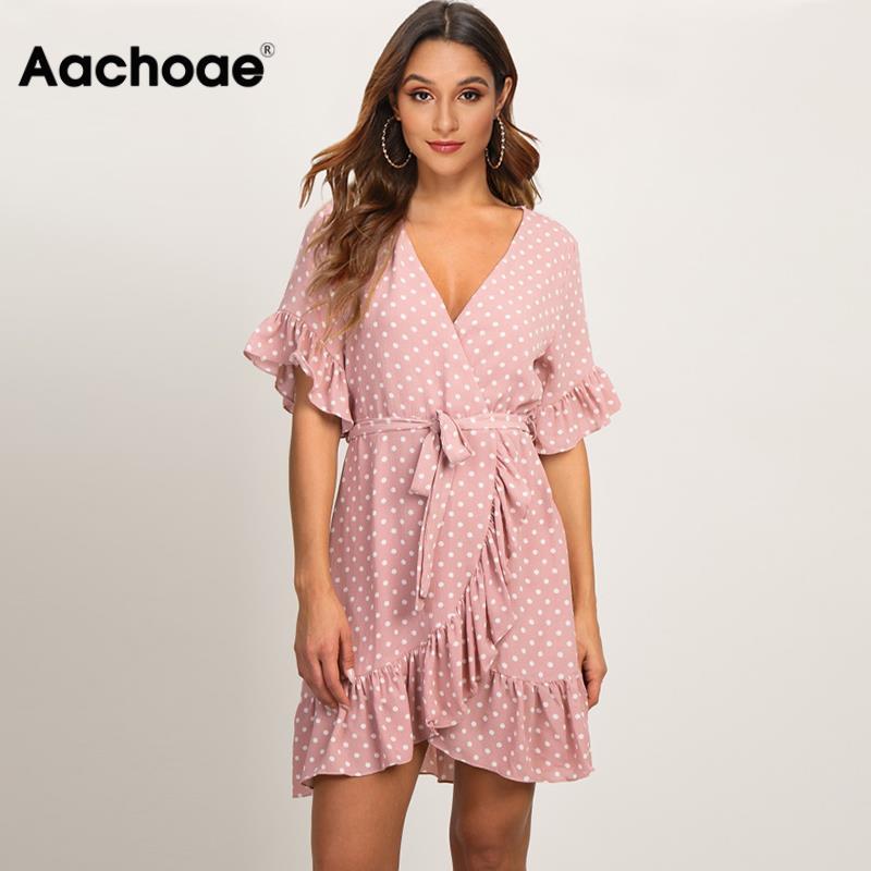 Aachoae Summer Dress 2020 Boho Style Beach Dress Fashion Short Sleeve V-neck Polka Dot A-line Party Dress Sundress Vestidos