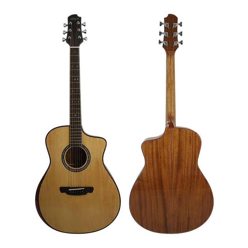 Aiersi marque tout en épicéa massif acajou corps guitare acoustique avec étui de guitare gratuit