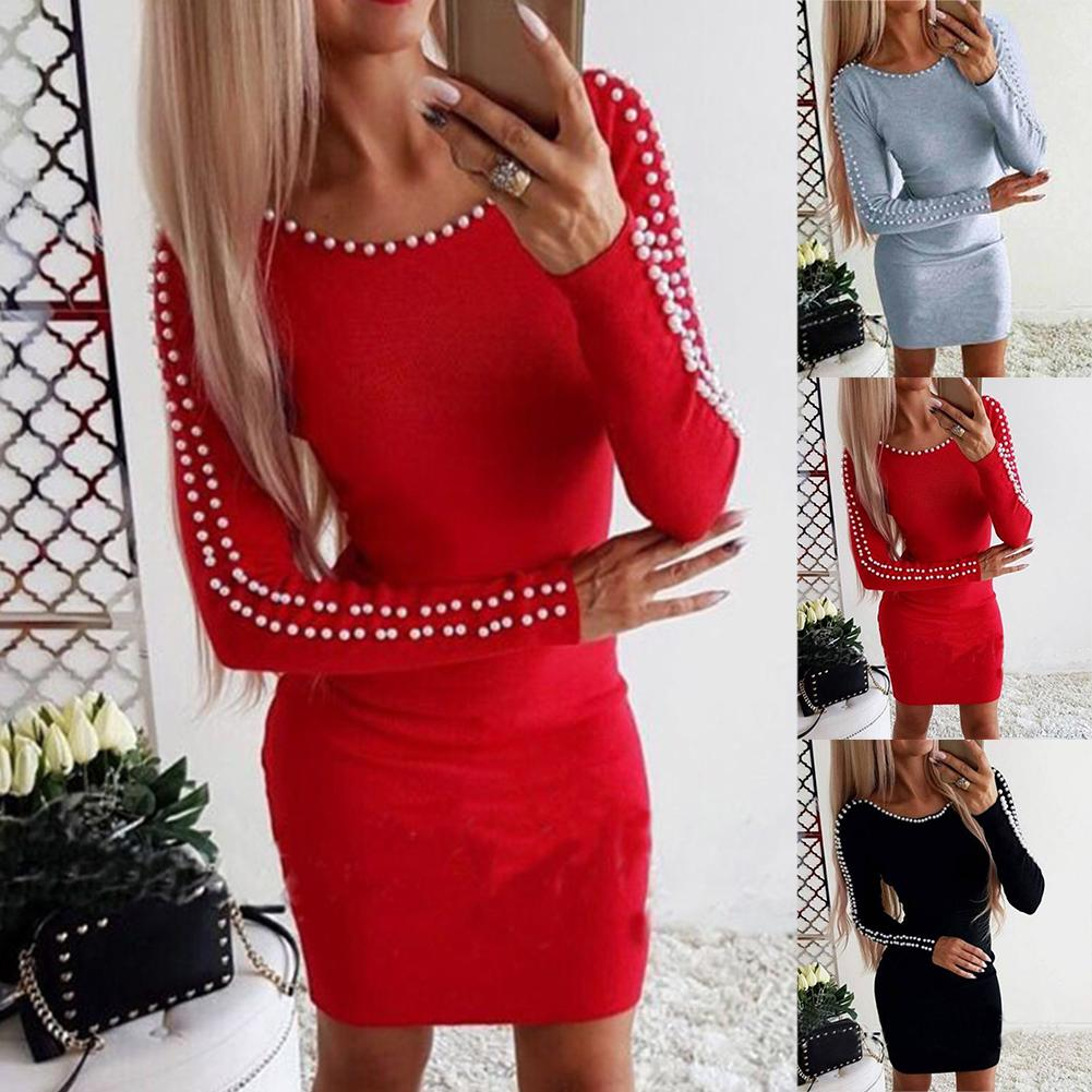 Hot Women Solid Color Faux Pearl Decor Long Sleeve O Neck Bodycon Party Mini <font><b>Dress</b></font> Polyester/ Spandex Above Knee Mini Size S-<font><b>5XL</b></font> image