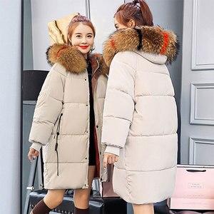 Image 3 - חורף סלעית חם למטה מעיל נשים מקרית ארוך למטה מעילי גבירותיי לעבות כותנה Parka בתוספת גודל הלבשה עליונה קוריאני Harajuku מעיל