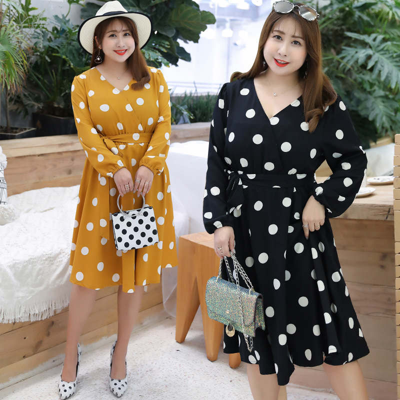 2019 Autumn Clothing New Style Plus-sized Extra Large WOMEN'S Dress Fat Mm Chiffon Dress Polka Dot Skirt On Behalf Of Supply Of