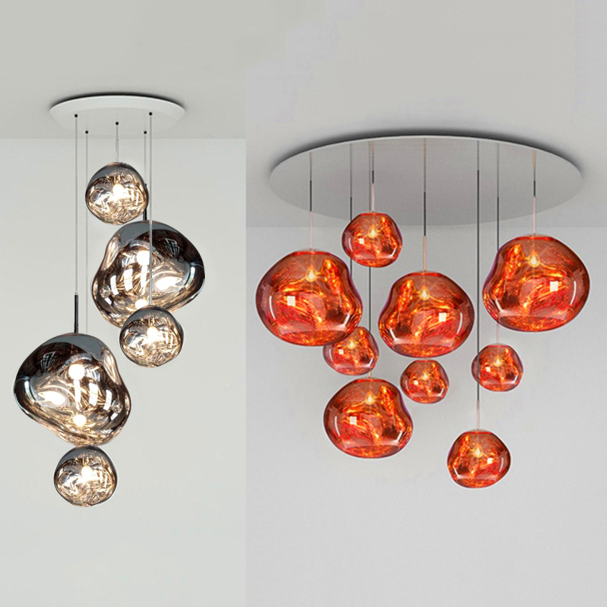 Nordic Glass Design Pendant Lights Coffee Bar Glass Lava Lamp Kitchen Villa Duplex Luminária Apartment Silve/gold/red Hanglamp