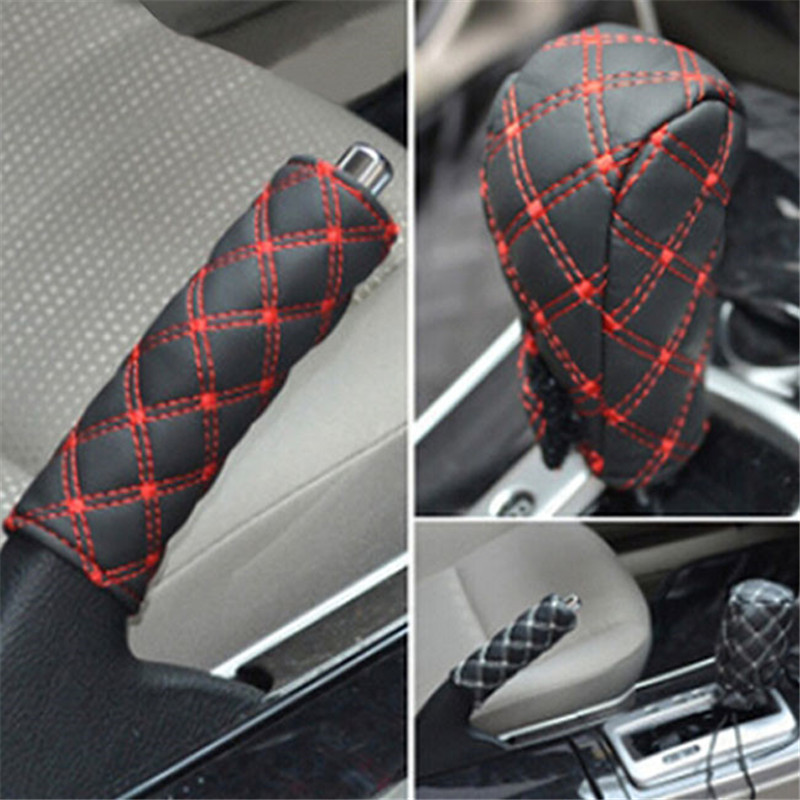 2PCS Hand Brake Case Gear shift Cover Car Interior Fittings Accessories Black Red Strap