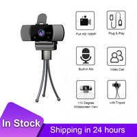 Cámara Web con micrófono USB de 1080P HD para videoconferencia, transmisión en vivo, Web Cam con Clip, trípode con Clip, de escritorio y trípode