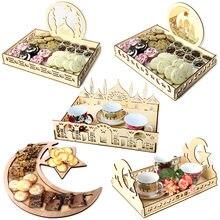 Décoration en bois pour le Ramadan Moubarak, décor de fête musulmane, plateau à nourriture de l'aïd