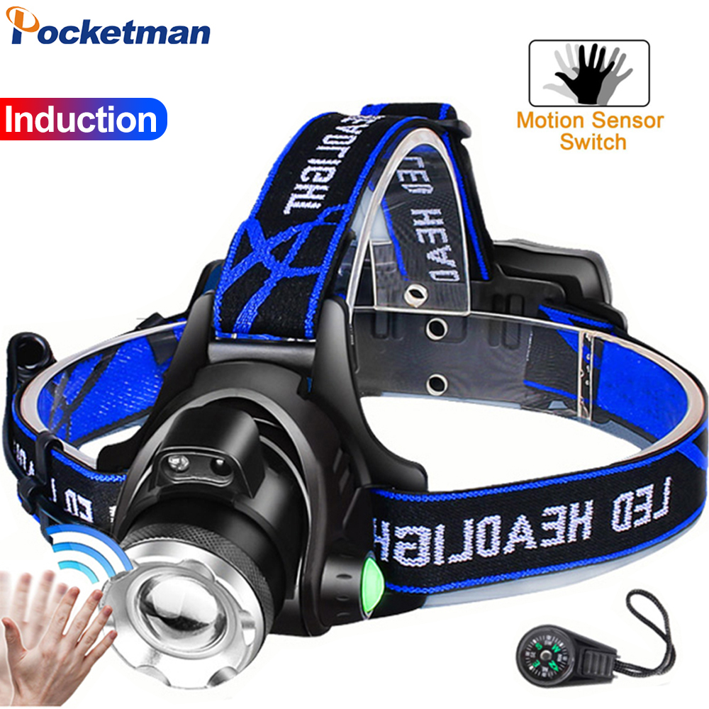 8000LM LED Headlamp Brightest Zoomable Headlight T6 L2 V6 LED Head Light Waterproof Head Lamp Head Front Torch Use 18650 Battery