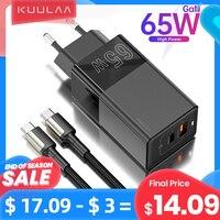 KUULAA 65W GaN Ladegerät Schnell Ladung 4,0 3,0 USB Typ C QC PD USB Ladegerät Tragbare Schnelle Ladegerät Für iPhone Xiaomi Laptop Tablet