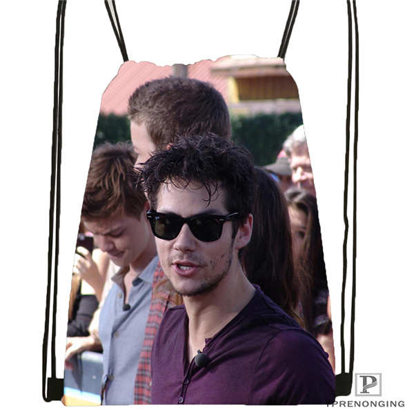 Custom Portrait_practice__dylan_o_brien Drawstring Backpack Bag Cute Daypack Kids Satchel (Black Back) 31x40cm#180611-03-108