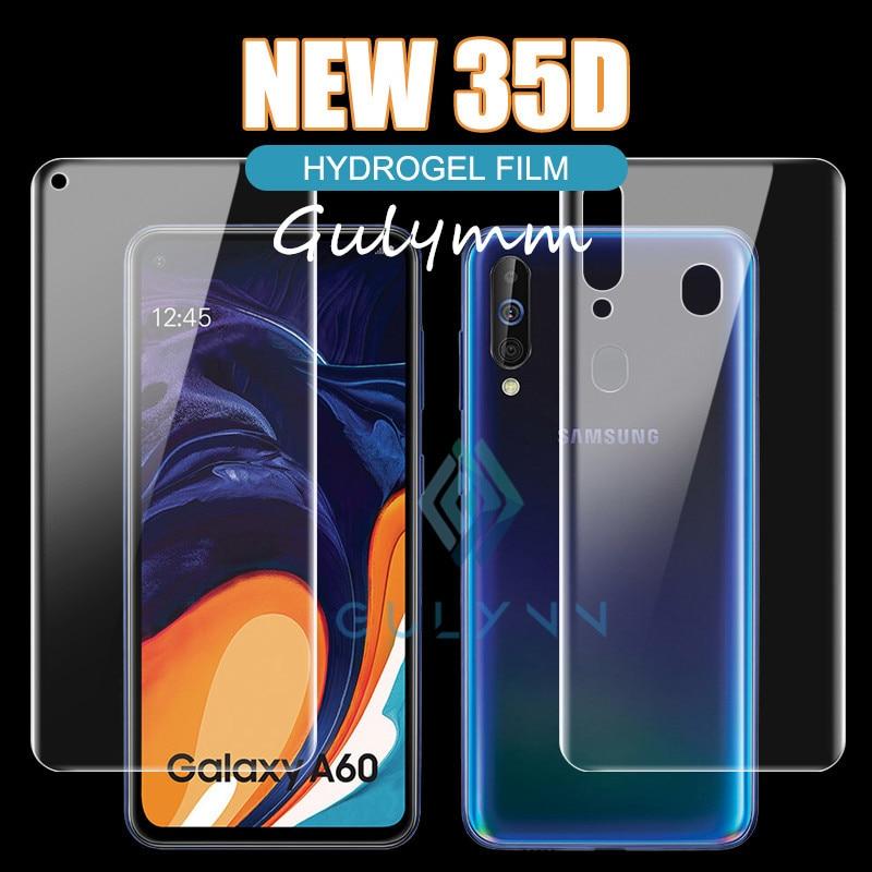 Filme dianteiro + traseiro de hidrogel para samsung galaxy a 10 20 30 40 50 60 70 80 90 a20e novo 35d película protetora para samsung m20 m30 capa